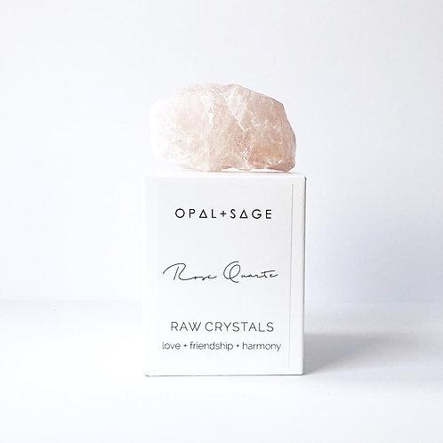 Rose Quartz Opal + Sage Raw Crystals