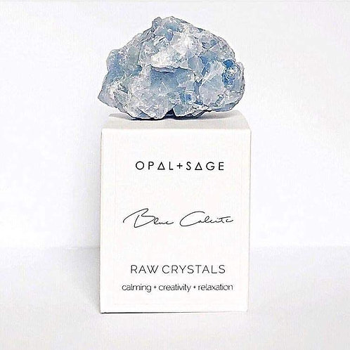 Blue Calcite Opal + Sage Raw Crystals