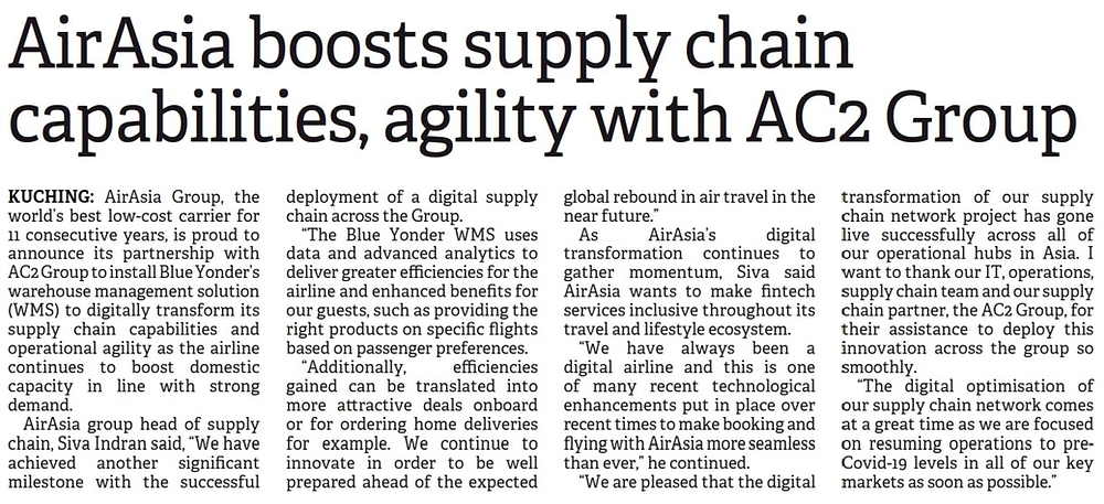 AirAsia Boots Supply Chain Capabilities, Agility with AC2 Group