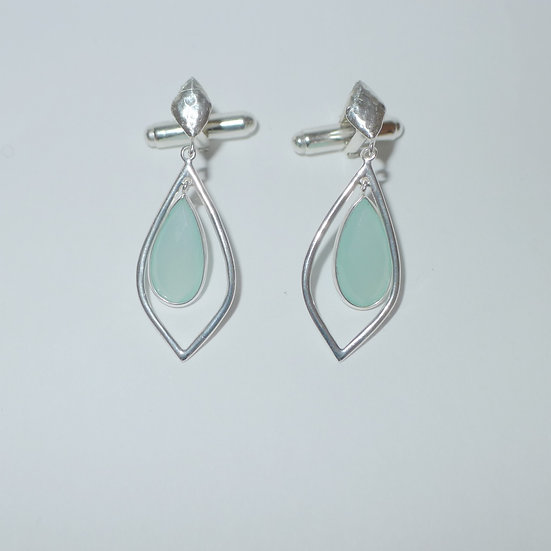 Hammered sterling silver pear shaped chalcedony cufflinks for women
