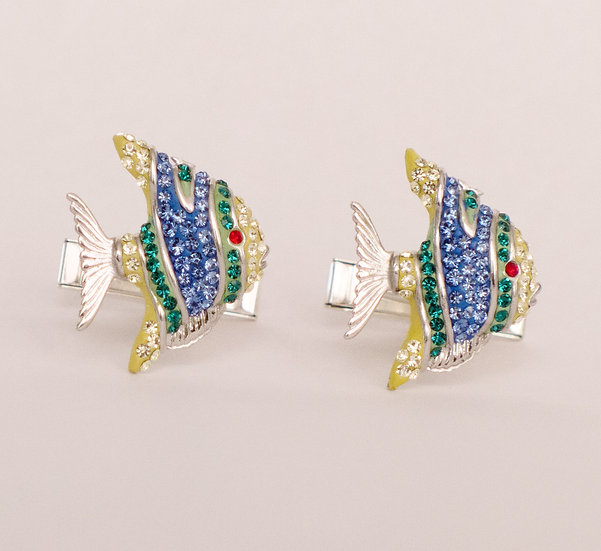 Colorful swarovsky crystals Sterling silver cufflinks for women