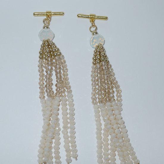 Blush and white beaded gold-toned tassel cufflinks for women