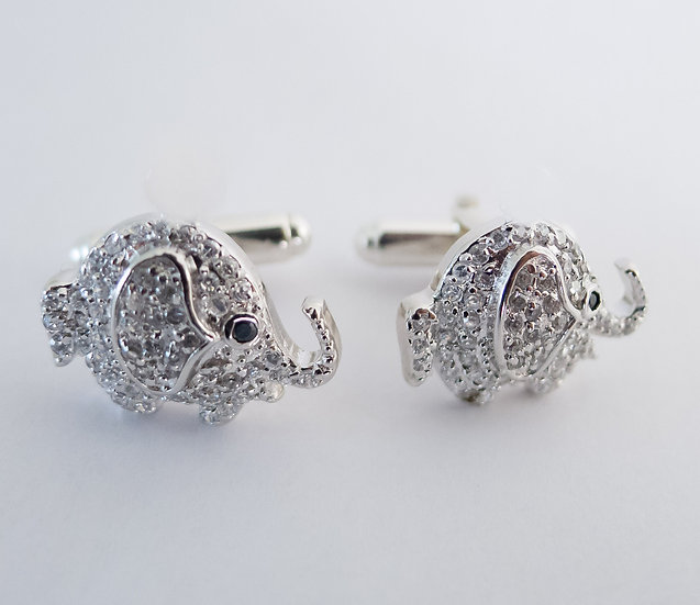 Sterling silver elephant cufflinks for her