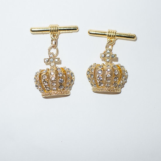 Crystal covered gold toned crown with chain attachment cufflinks for women.