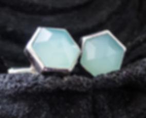 cufflinks for women - Aqua chalcedony set in sterling silver
