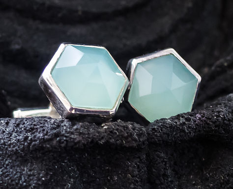 cufflinks for women - Aqua chalcedony set in sterling silver