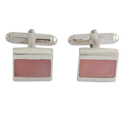 Pink chalcedony sterling silver cufflinks for her