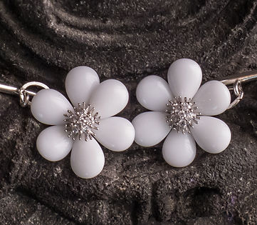 Cufflinks for women - white agate petals and clear CZ center with sterling silver chain and toggle