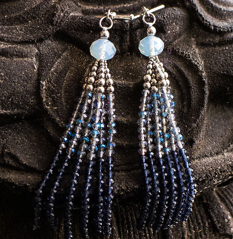 Blue ombre beaded tassel cufflinks for women