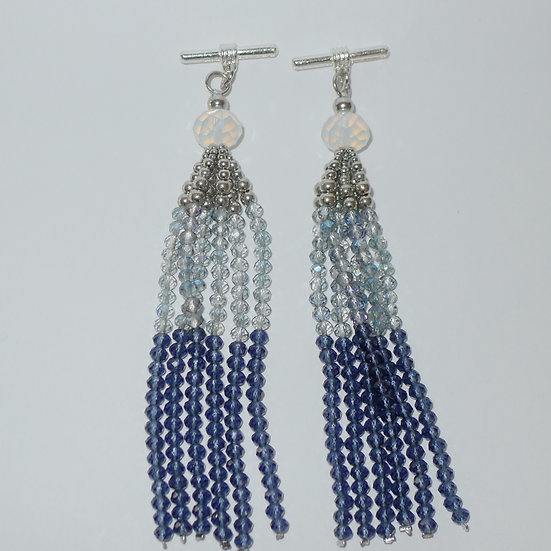 Blue Ombré beaded tassel with silver toned metal accents cufflinks for women