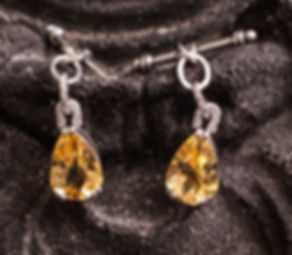 Cufflinks for women -citrine with CZ on a sterling silver toggle