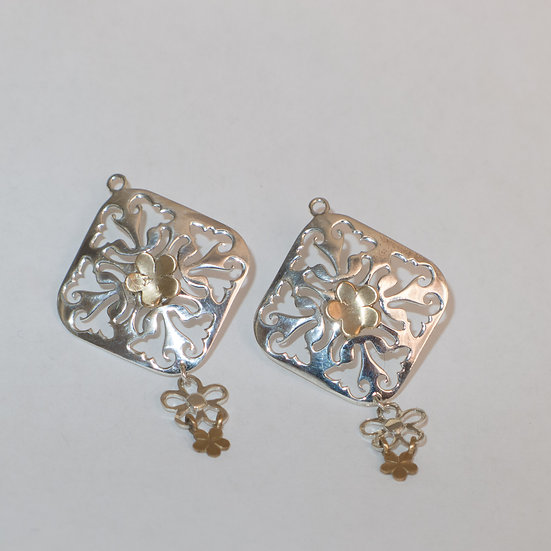 Sterling silver diamond shaped with floral bronze accents cufflinks for women