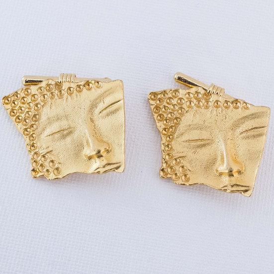 Serene golden face cufflinks for women