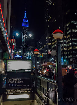 Empire State Building Night and 34 Street Penn Station subway entrance