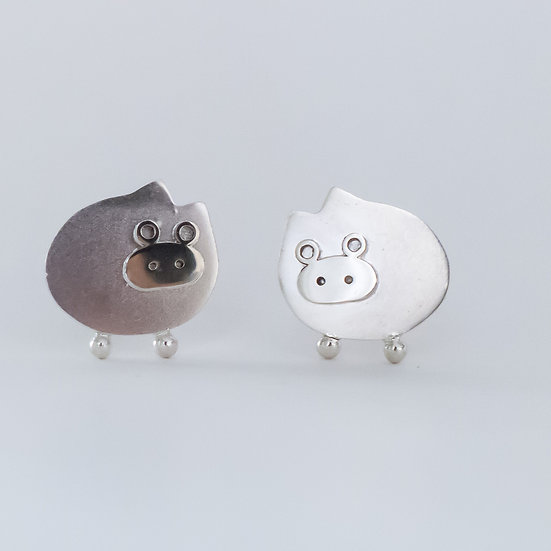 Sterling silver pig cufflinks for women