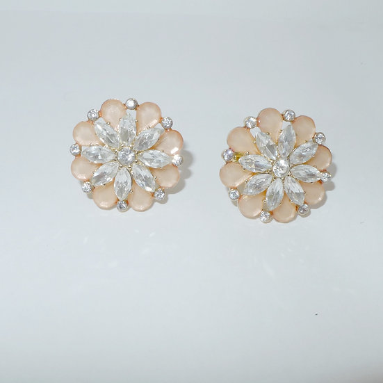 Peach acrylic flowers with clear crystals gold toned fashion cufflinks for women