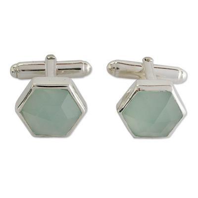 Aqua chalcedony hexagon sterling silver cufflinks for women