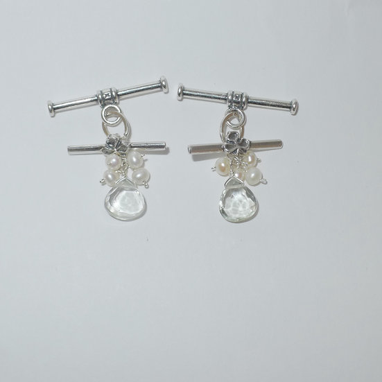 Sterling Silver tear-shaped prasiolite and cultured freshwater pearls cufflinks for women