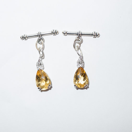 Sterling Silver Citrine (7.75 CT) with CZ accents pear drop cufflinks for women