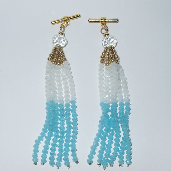 Beaded  aqua and white tassel with gold toned metal cufflinks for women