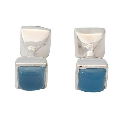Double-sided blue chalcedony sterling silver cufflinks for women