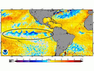 Pacific Ocean Cools to La Nina Level