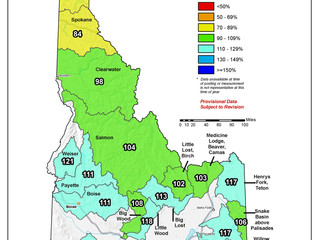 Idaho And Western United States SNOTEL Water Year (Oct 1) to Date Precipitation % of Normal (4/30)
