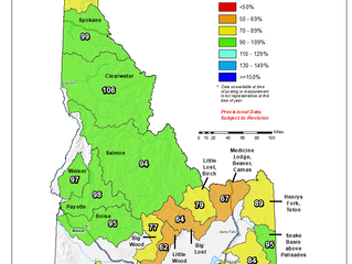 Idaho And Western United States SNOTEL Water Year (Oct 1) to Date Precipitation % of Normal (3/16)