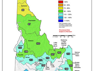 Idaho And Western United States SNOTEL Water Year (Oct 1) to Date Precipitation % of Normal (5/28)