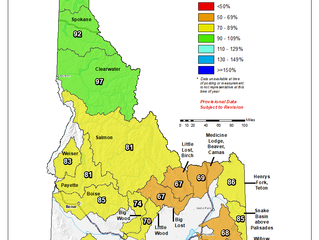 Idaho And Western United States SNOTEL Water Year (Oct 1) to Date Precipitation % of Normal (2/9)