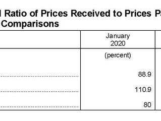 January Ag Prices Received Down 1.4 Percent, Prices Paid Up .8%