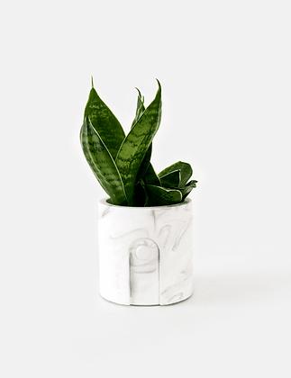 Emilia Planter / Tealight Holder Ø 6 cm 'House Raccoon' - White Marble