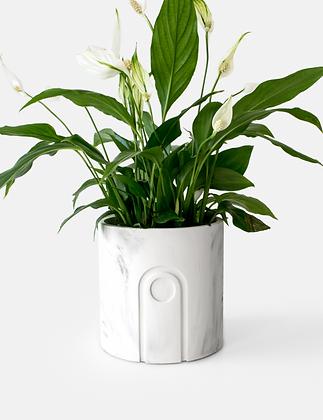 Jane Planter Ø 12 cm 'House Raccoon' - White Marble