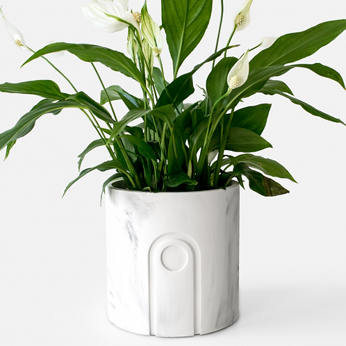 Jane Planter Ø 12 cm 'House Raccoon' - White Marble