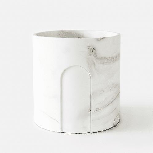 Joe Planter Ø 17 cm 'House Raccoon' - White Marble