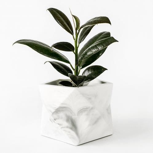 Palua Planter large Ø 8,5 cm 'House Raccoon' - White Marble