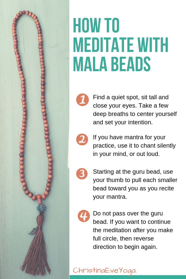 how to meditate graphic, mala beads, prayer beads, step by step meditation