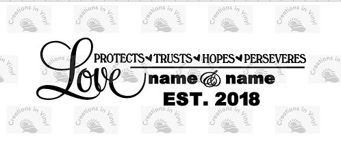 LOVE, PROTECTS, TRUSTS, HOPES