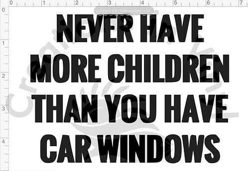 Never Have More Children Than You Have Car Windows