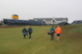 Tom and Jared from New Jersey playing the 18th at Carnoustie Golf Club