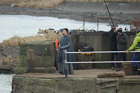 Caitriona Balfe on location Outlander Filming