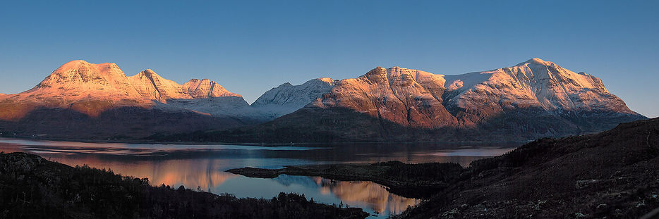 Wester Alligin, Torridon overlooking Upper Loch Torridon in the shadow of Beinn Alligin, Sgurr Mhor and Liathach