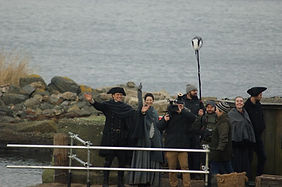 Caitriona Balfe and Sam Heughan on location Outlander Filming