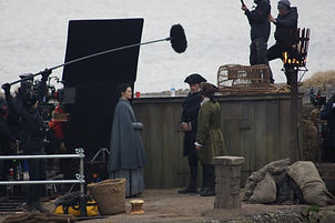 Sam Heughan on location Outlander Filming