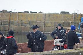 Sam Heughan on ocation Outlander Filming