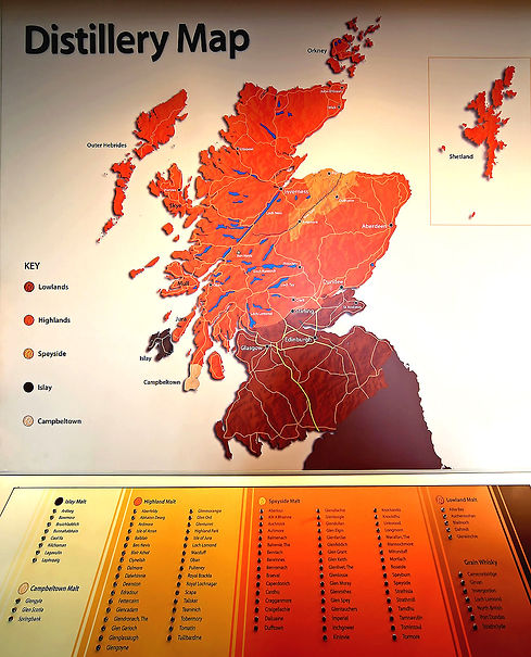 Whisky and Whiskey Distillery Map