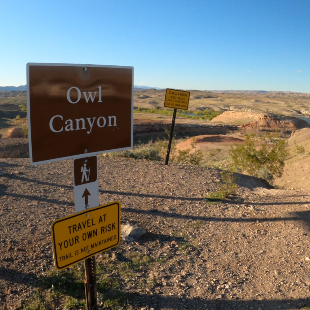 Owl Canyon Trailhead sign at Lake Mead National Recreation Area