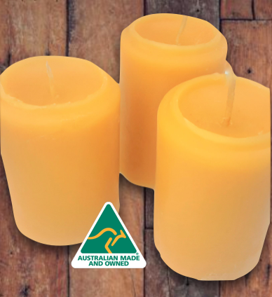 Oz Beeswax Rustic Pillar Candles - 3 Pack