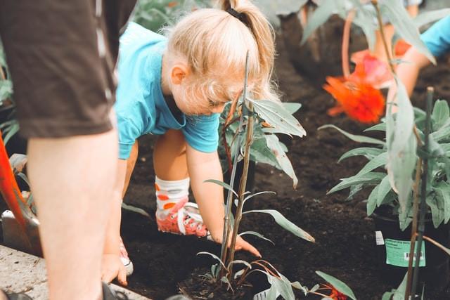 Kind und Eltern bei Gartenarbeit