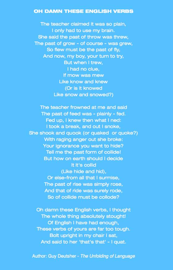 Oh damn these English verbs